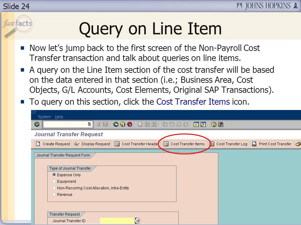 Slide 24 Query on Line Item Now lets jump back to the first screen of the Non-Payroll Cost Transfer transaction and talk about queries on line items.