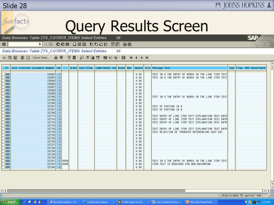 Slide 28 Query Results Screen