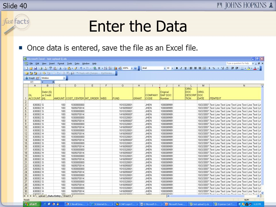 Slide 40 Enter the Data Once data is entered, save the file as an Excel file.