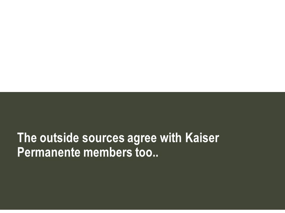 The outside sources agree with Kaiser Permanente members too..