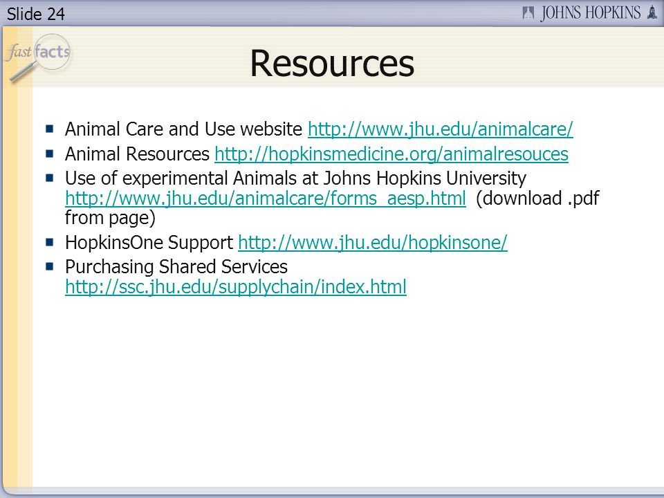 Slide 24 Resources Animal Care and Use website http://www.jhu.edu/animalcare/http://www.jhu.edu/animalcare/ Animal Resources http://hopkinsmedicine.org/animalresouceshttp://hopkinsmedicine.org/animalresouces Use of experimental Animals at Johns Hopkins University http://www.jhu.edu/animalcare/forms_aesp.html (download.pdf from page) http://www.jhu.edu/animalcare/forms_aesp.html HopkinsOne Support http://www.jhu.edu/hopkinsone/http://www.jhu.edu/hopkinsone/ Purchasing Shared Services http://ssc.jhu.edu/supplychain/index.html http://ssc.jhu.edu/supplychain/index.html