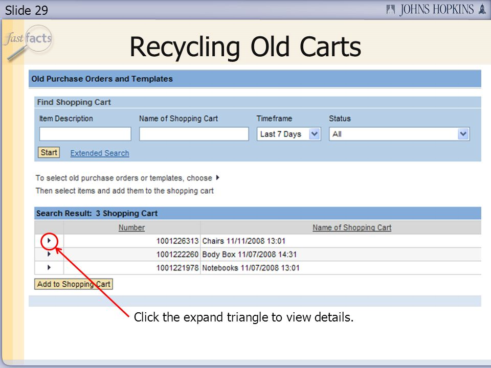 Slide 29 Recycling Old Carts Click the expand triangle to view details.