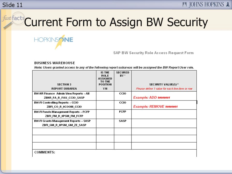 Slide 11 Current Form to Assign BW Security