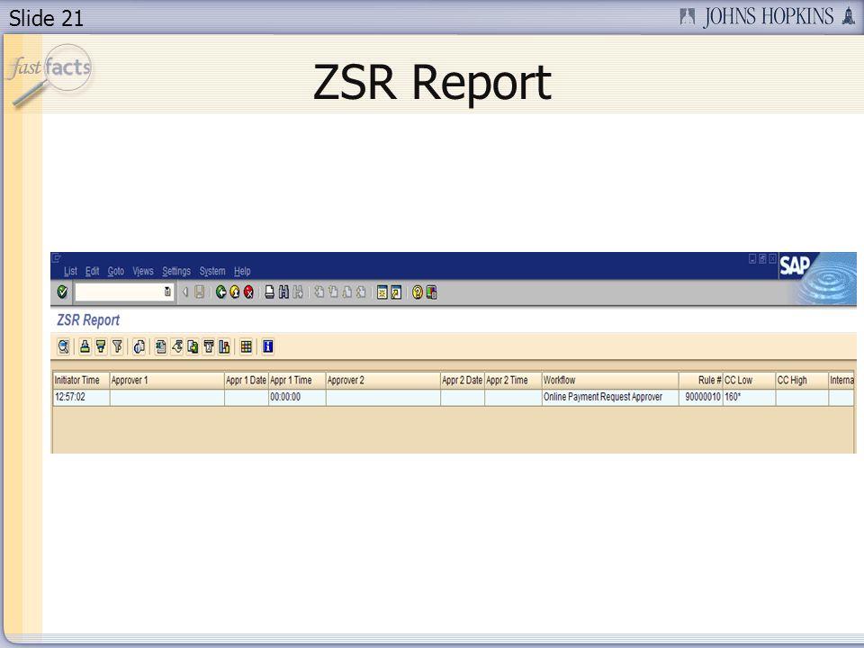 Slide 21 ZSR Report