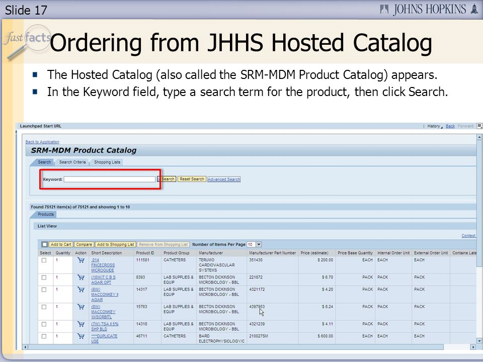 Slide 17 The Hosted Catalog (also called the SRM-MDM Product Catalog) appears.