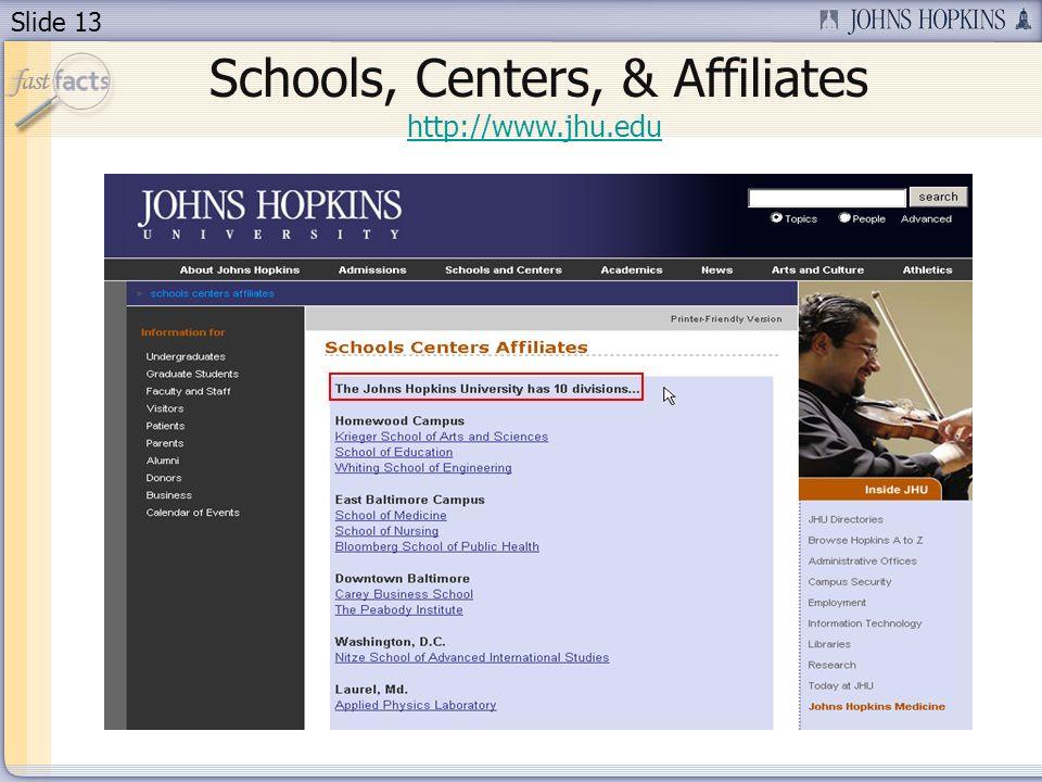 Slide 13 Schools, Centers, & Affiliates http://www.jhu.edu