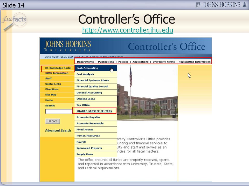 Slide 14 http://www.controller.jhu.edu Controllers Office