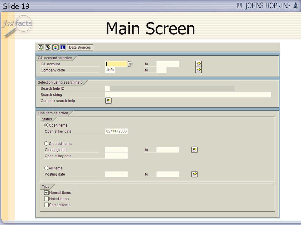 Slide 19 Main Screen