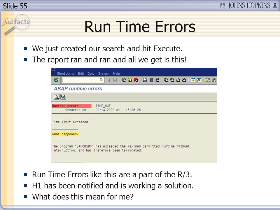 Slide 55 Run Time Errors We just created our search and hit Execute.