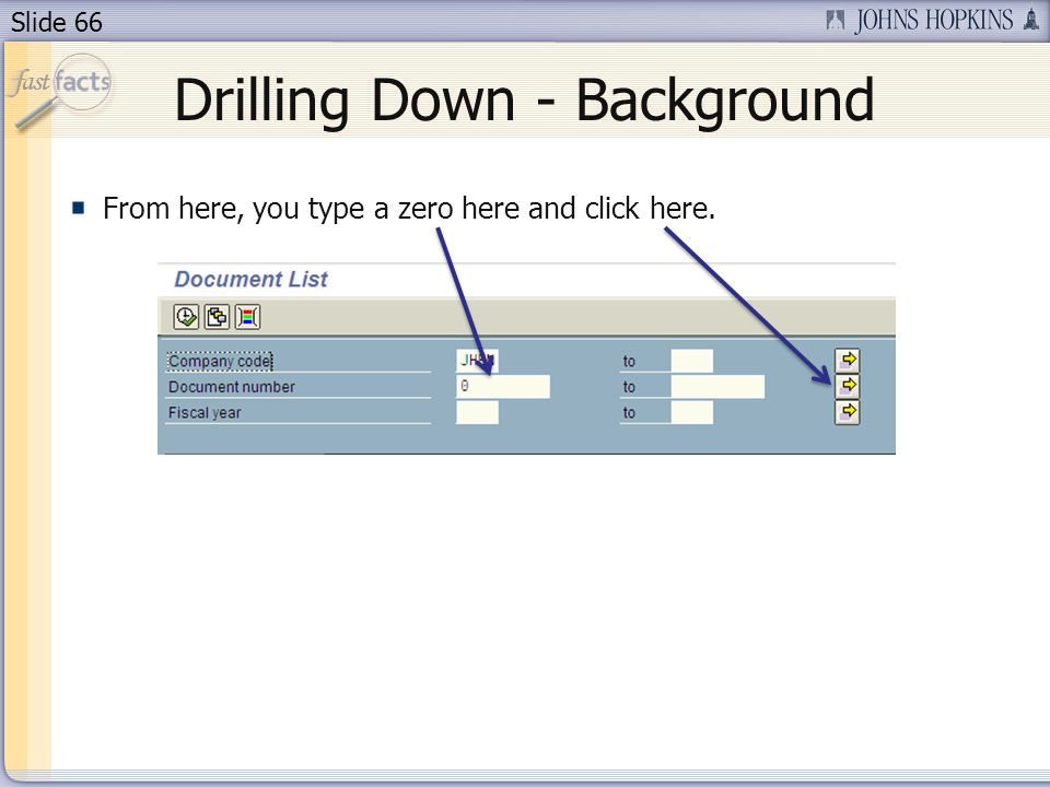 Slide 66 Drilling Down - Background From here, you type a zero here and click here.