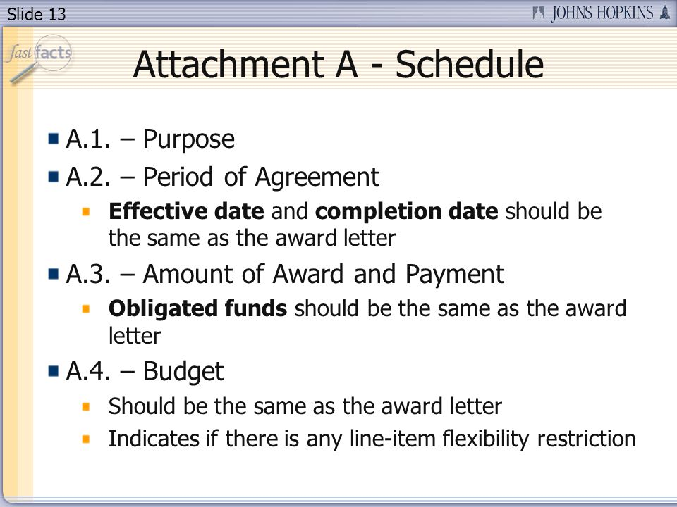 Slide 13 Attachment A - Schedule A.1. – Purpose A.2. – Period of Agreement Effective date and completion date should be the same as the award letter A