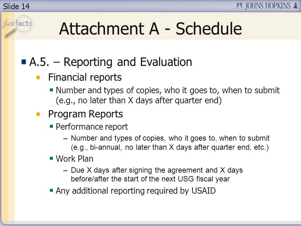 Slide 14 Attachment A - Schedule A.5.