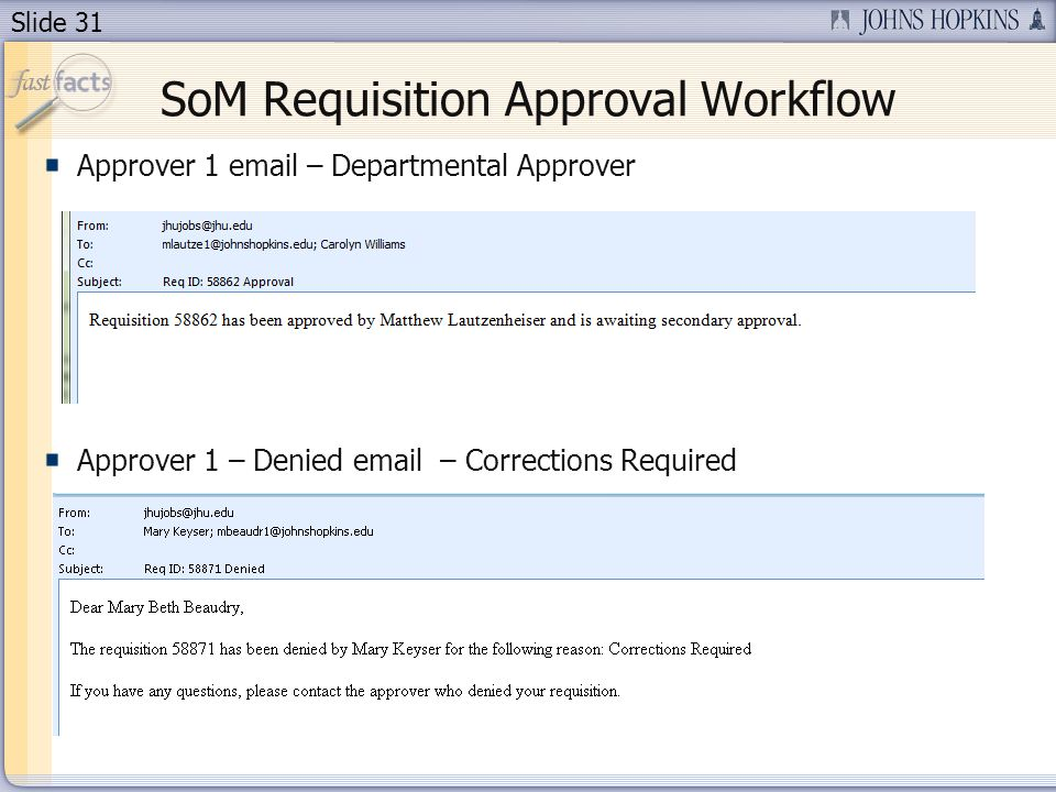 Slide 31 SoM Requisition Approval Workflow Approver 1 email – Departmental Approver Approver 1 – Denied email – Corrections Required