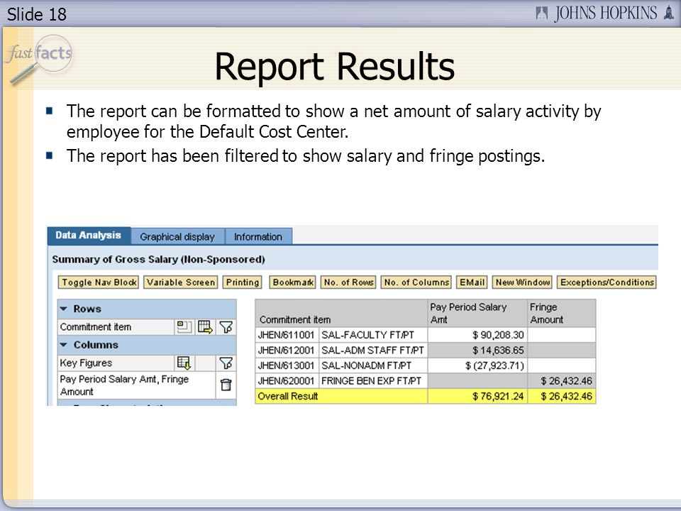 Slide 18 Report Results The report can be formatted to show a net amount of salary activity by employee for the Default Cost Center.
