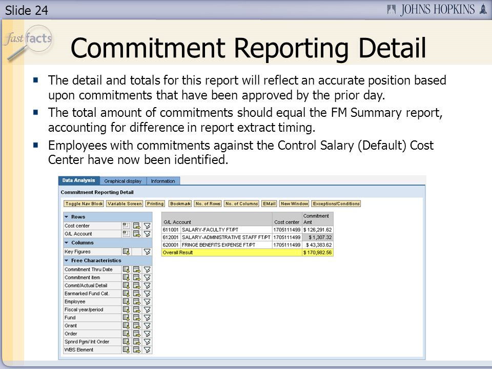 Slide 24 Commitment Reporting Detail The detail and totals for this report will reflect an accurate position based upon commitments that have been approved by the prior day.