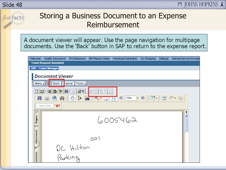 Slide 48 A document viewer will appear.Use the page navigation for multipage documents.