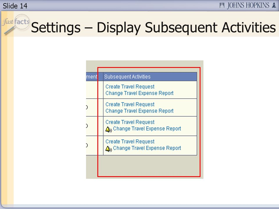 Slide 14 Settings – Display Subsequent Activities