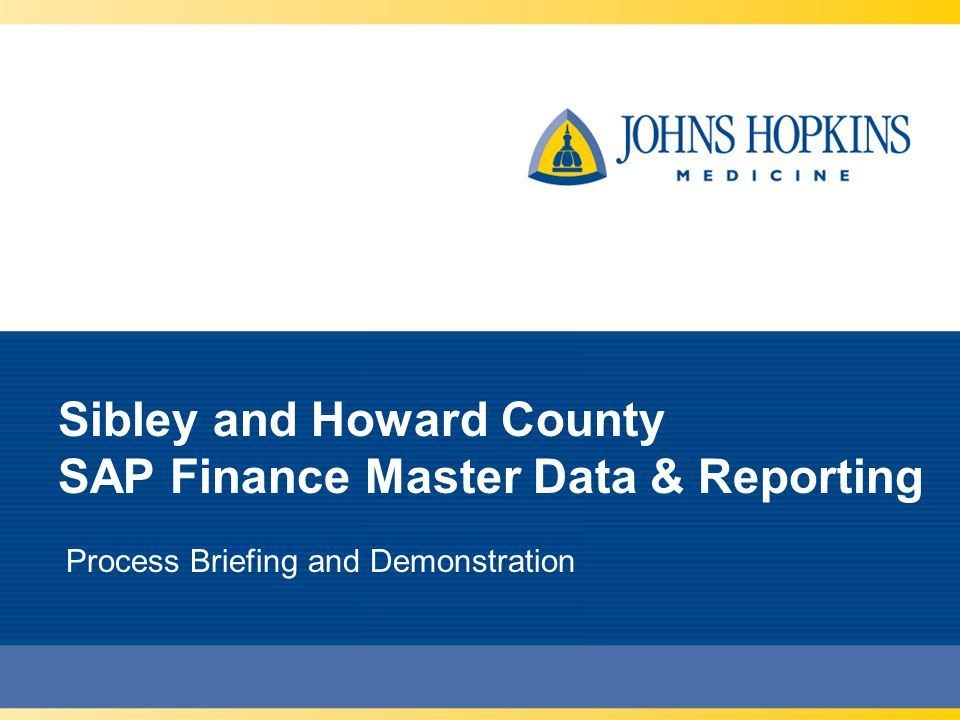 Sibley and Howard County SAP Finance Master Data & Reporting Process Briefing and Demonstration