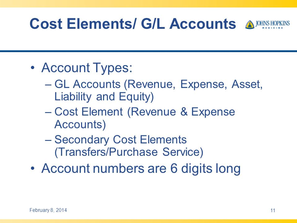 Cost Elements/ G/L Accounts Account Types: –GL Accounts (Revenue, Expense, Asset, Liability and Equity) –Cost Element (Revenue & Expense Accounts) –Secondary Cost Elements (Transfers/Purchase Service) Account numbers are 6 digits long February 8, 201411
