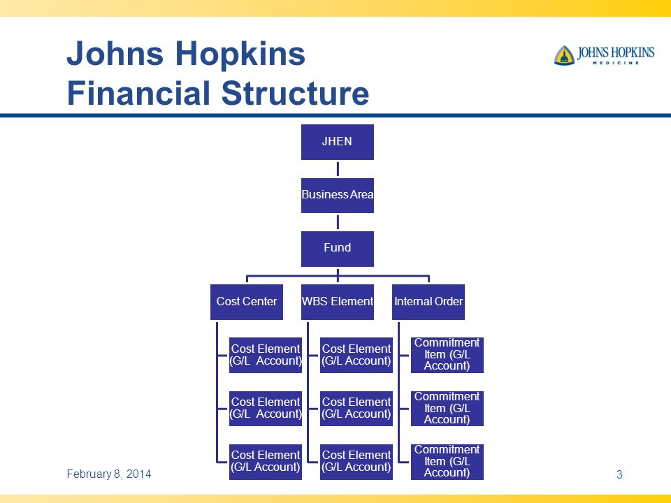 Johns Hopkins Financial Structure JHEN Business Area Fund Cost Center Cost Element (G/L Account) WBS Element Cost Element (G/L Account) Internal Order Commitment Item (G/L Account) February 8, 20143