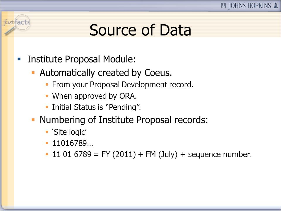 Source of Data Institute Proposal Module: Automatically created by Coeus.