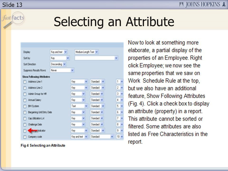 Slide 13 Selecting an Attribute