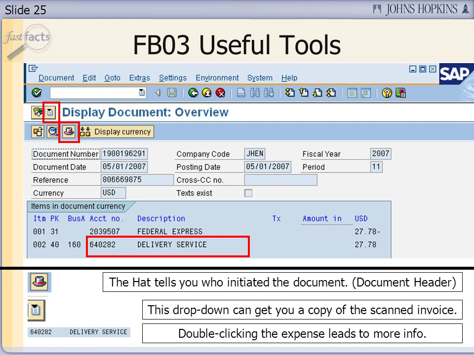 Slide 25 FB03 Useful Tools The Hat tells you who initiated the document.