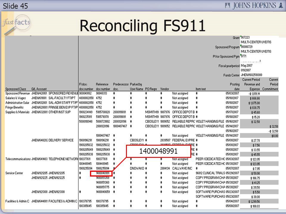 Slide 45 Reconciling FS911 1400048991