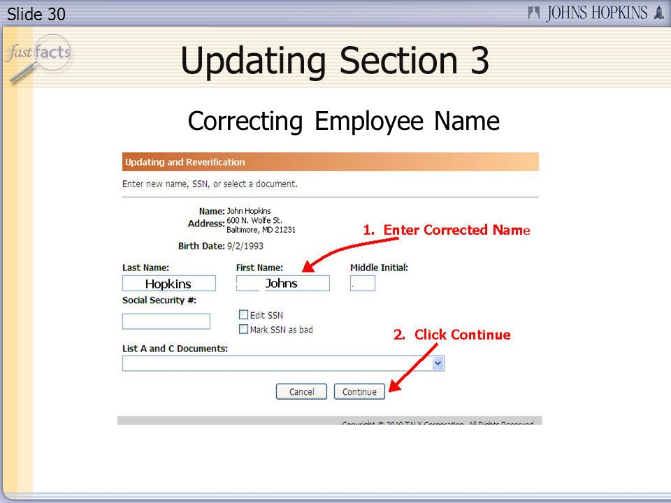 Slide 30 Updating Section 3 Correcting Employee Name