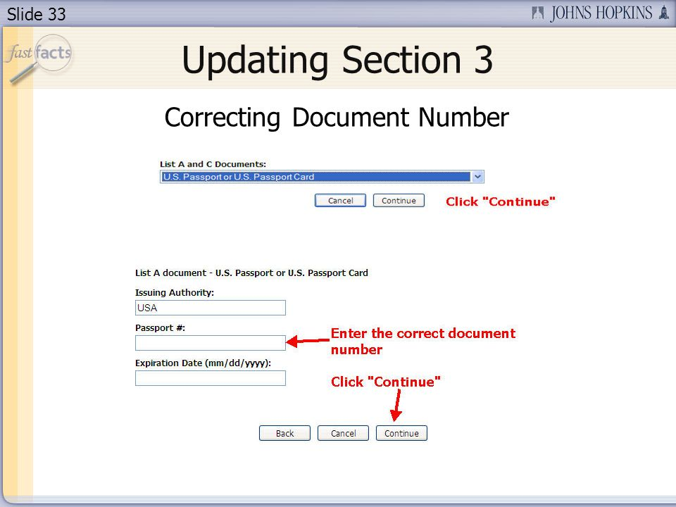Slide 33 Updating Section 3 Correcting Document Number
