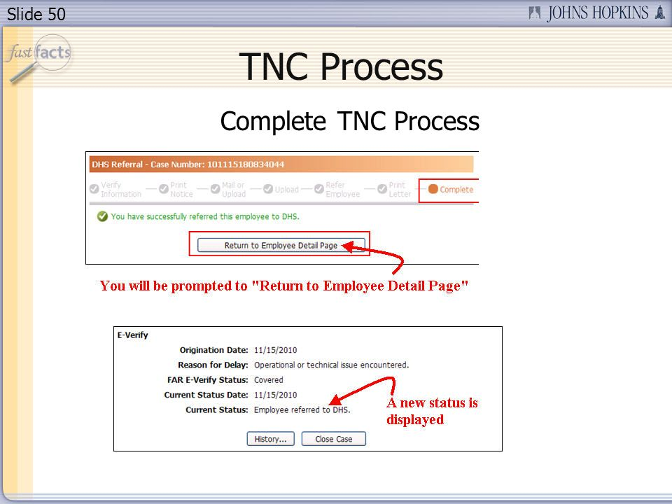 Slide 50 TNC Process Complete TNC Process