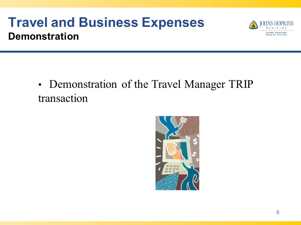 Travel and Business Expenses Demonstration 8 Demonstration of the Travel Manager TRIP transaction