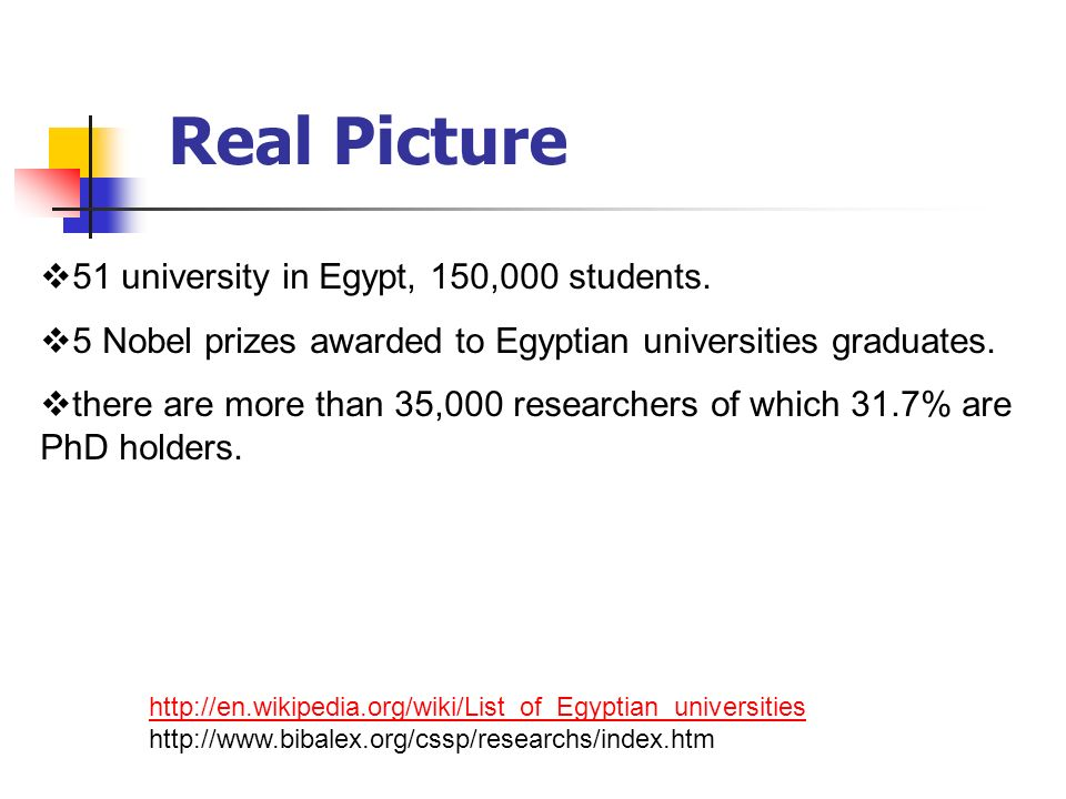 Real Picture 51 university in Egypt, 150,000 students.