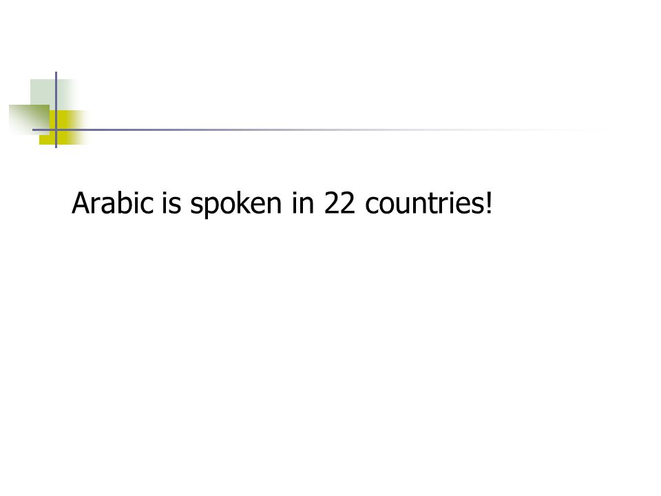 Arabic is spoken in 22 countries!