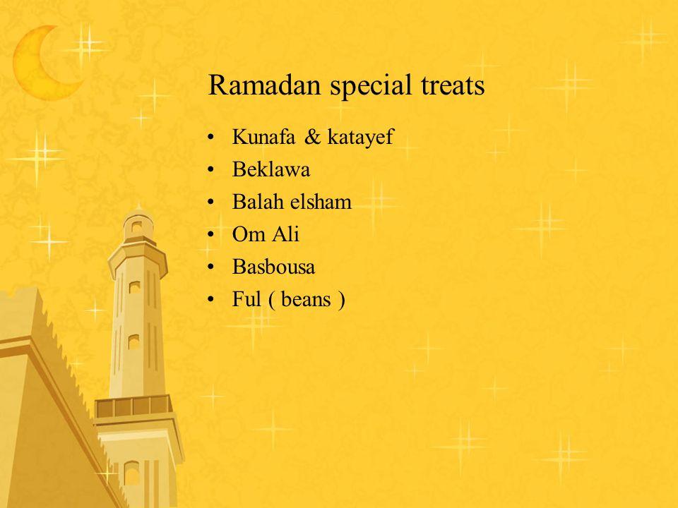 Ramadan special treats Kunafa & katayef Beklawa Balah elsham Om Ali Basbousa Ful ( beans )