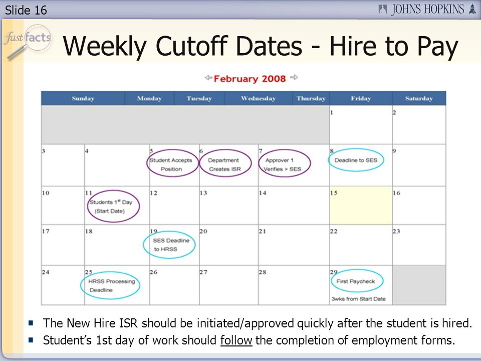 Slide 16 Weekly Cutoff Dates - Hire to Pay The New Hire ISR should be initiated/approved quickly after the student is hired.