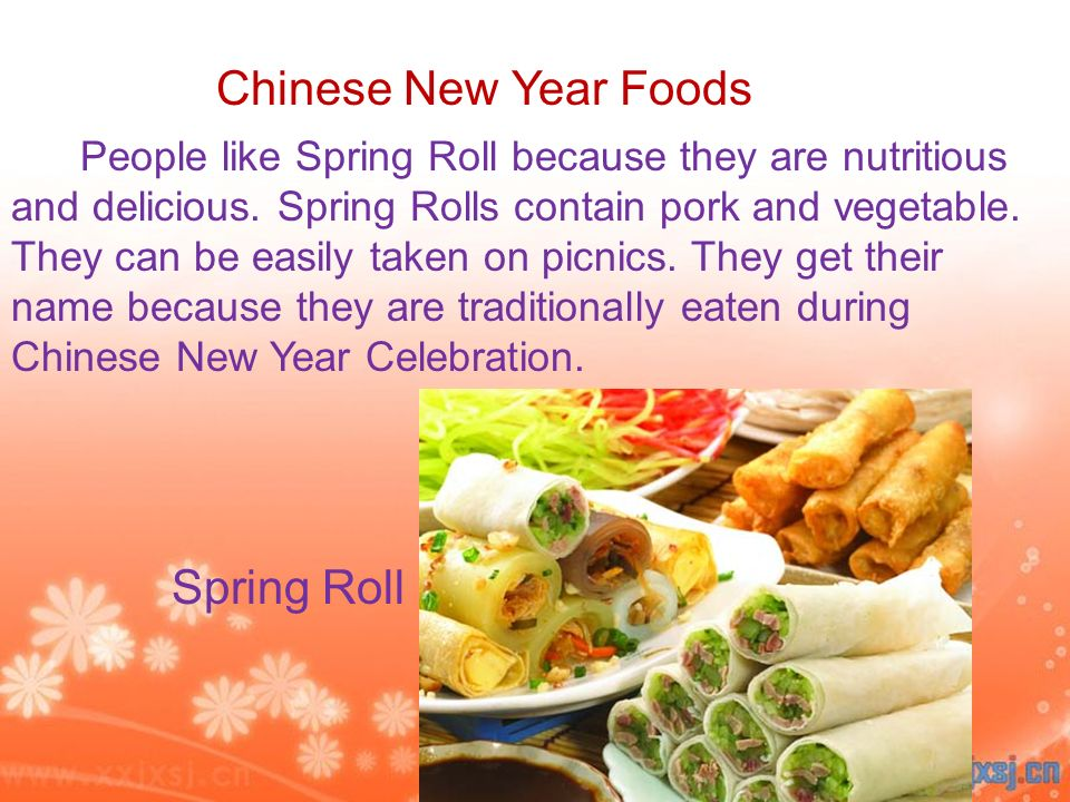 People like Spring Roll because they are nutritious and delicious. Spring Rolls contain pork and vegetable. They can be easily taken on picnics. They