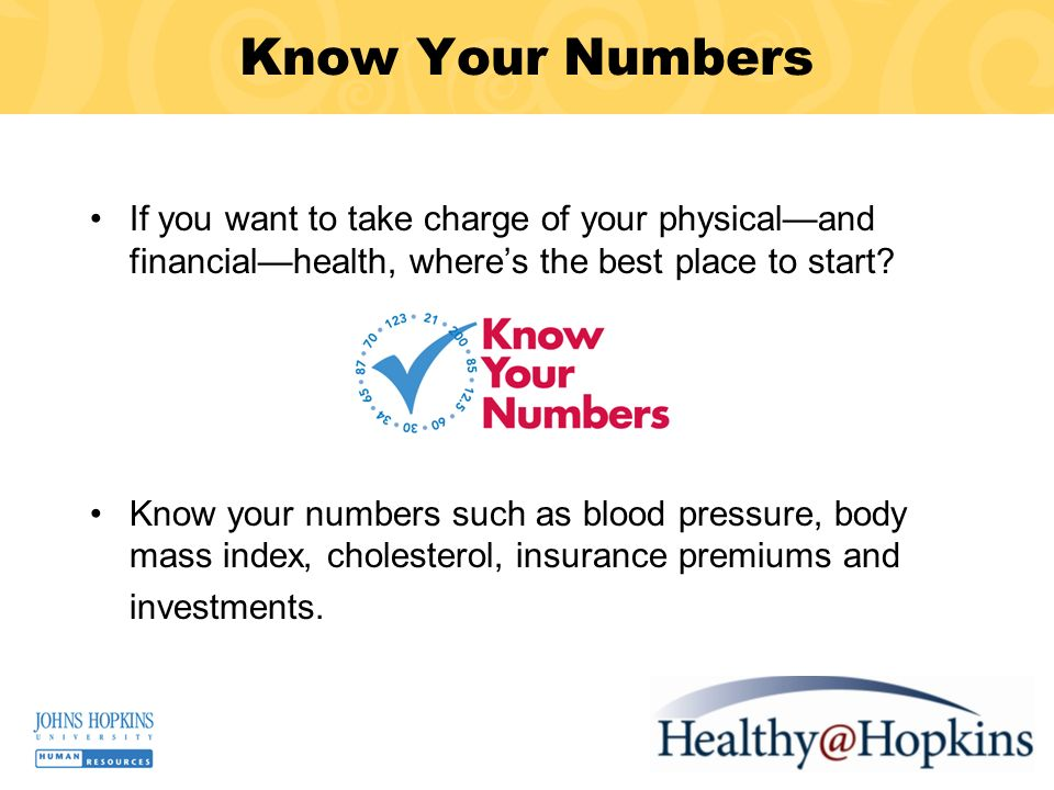 Know Your Numbers If you want to take charge of your physicaland financialhealth, wheres the best place to start.