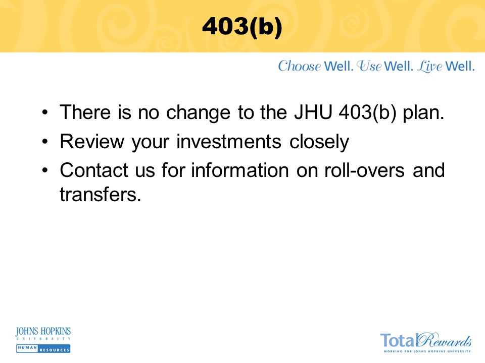 403(b) There is no change to the JHU 403(b) plan.