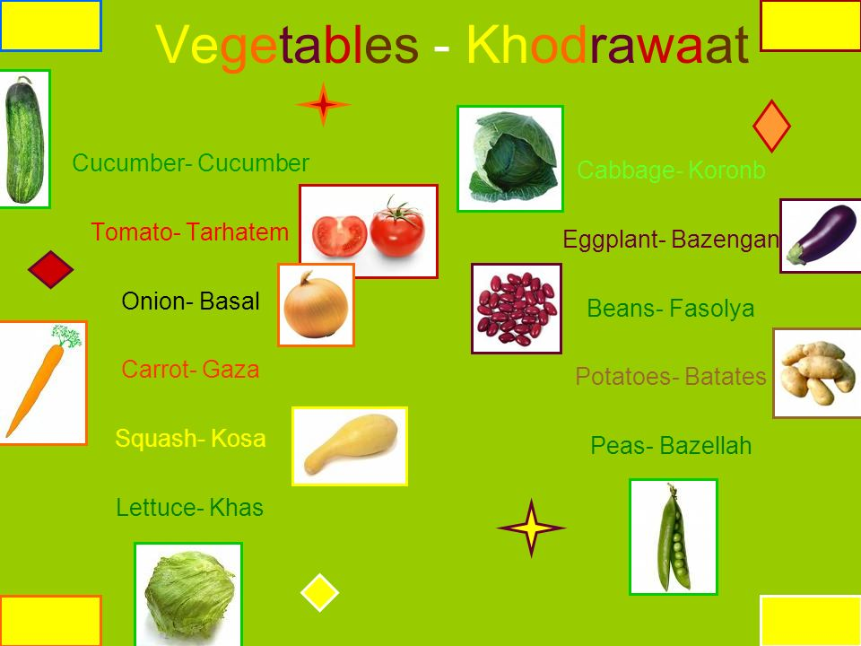 Vegetables - Khodrawaat Cucumber- Cucumber Tomato- Tarhatem Onion- Basal Carrot- Gaza Squash- Kosa Lettuce- Khas Cabbage- Koronb Eggplant- Bazengan Be