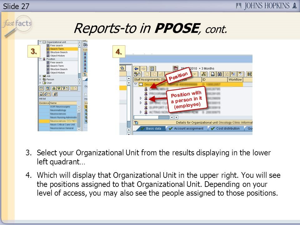 Slide 27 3.Select your Organizational Unit from the results displaying in the lower left quadrant… 4.Which will display that Organizational Unit in the upper right.