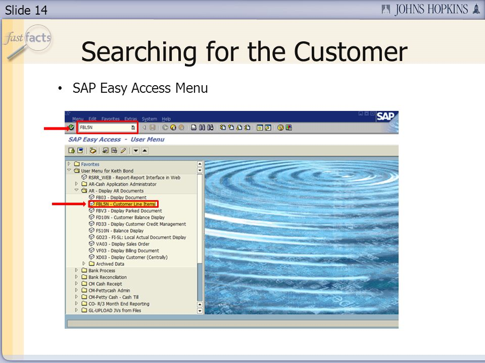 Slide 14 Searching for the Customer SAP Easy Access Menu