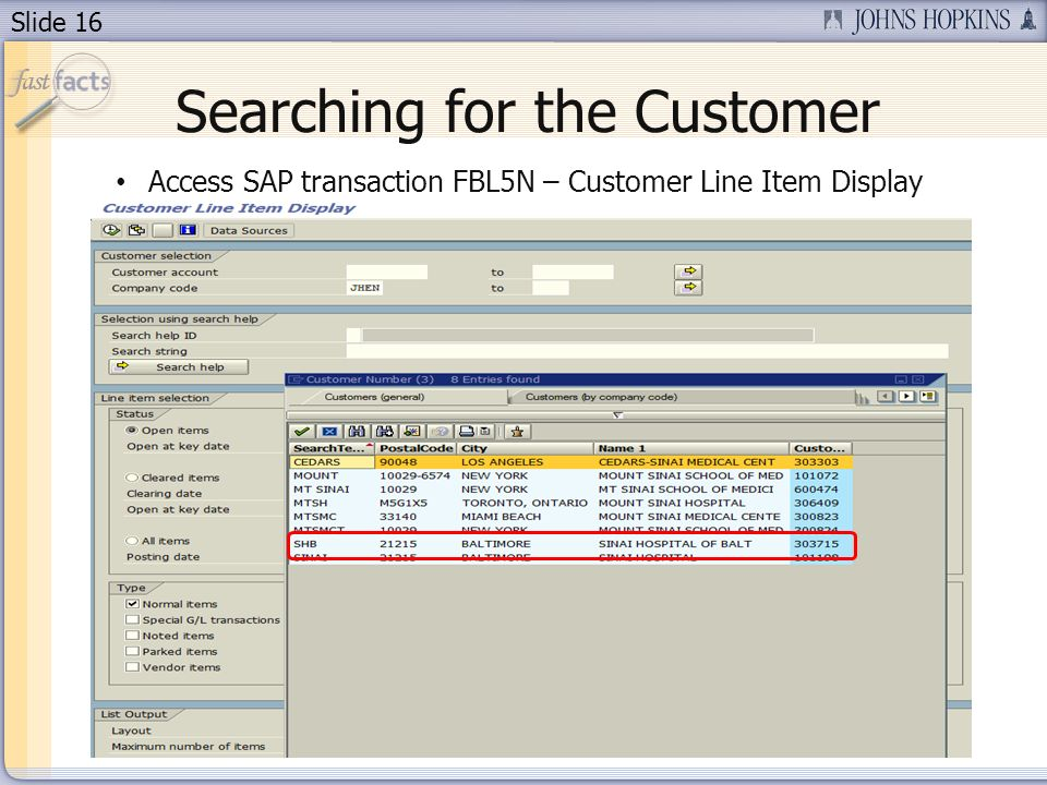 Slide 16 Searching for the Customer Access SAP transaction FBL5N – Customer Line Item Display