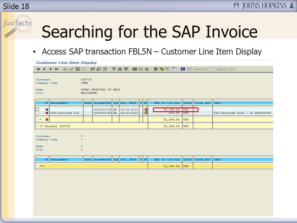 Slide 18 Searching for the SAP Invoice Access SAP transaction FBL5N – Customer Line Item Display
