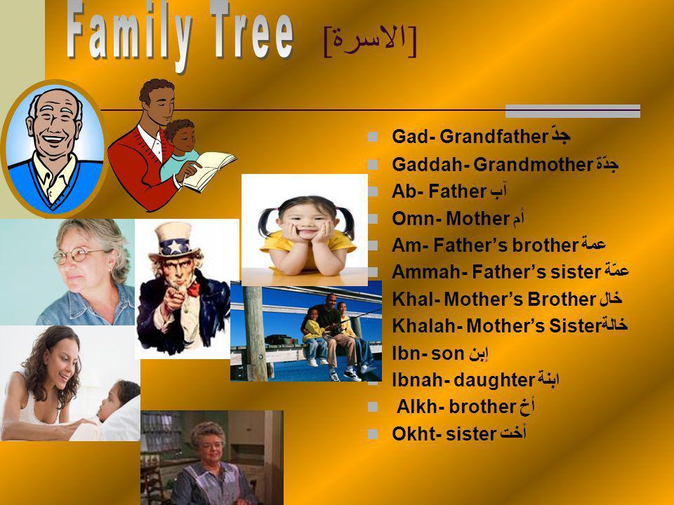 طبيعة Samaa- Skyسماء Shams- Sunشمس Madrasah- School مدرسة Shagarah- Treeشجرة Negeel- Grassعشب Qamar- Moonقمر Haql- Fieldمجال