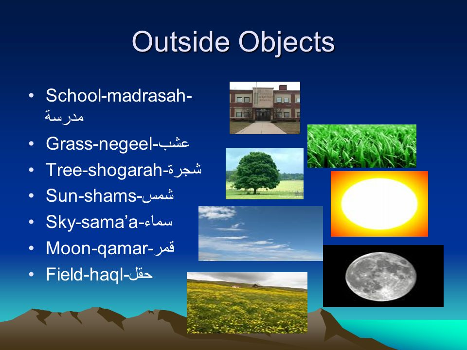 Outside Objects School-madrasah- مدرسة Grass-negeel-عشب Tree-shogarah-شجرة Sun-shams-شمس Sky-samaa-سماء Moon-qamar-قمر Field-haql-حقل