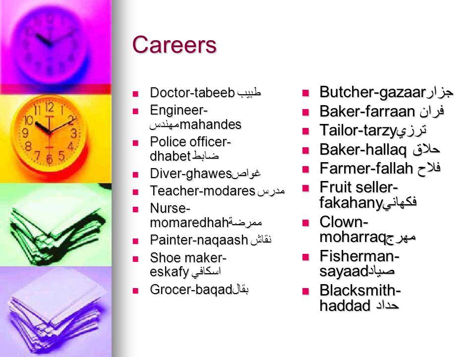 Careers Doctor-tabeebطبيب Doctor-tabeebطبيب Engineer- مهندسmahandes Engineer- مهندسmahandes Police officer- dhabetضابط Police officer- dhabetضابط Dive