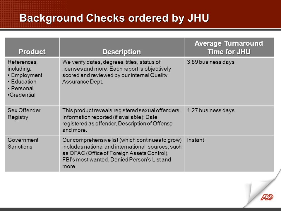 Background Checks ordered by JHU ProductDescription Average Turnaround Time for JHU References, including: Employment Education Personal Credential We verify dates, degrees, titles, status of licenses and more.