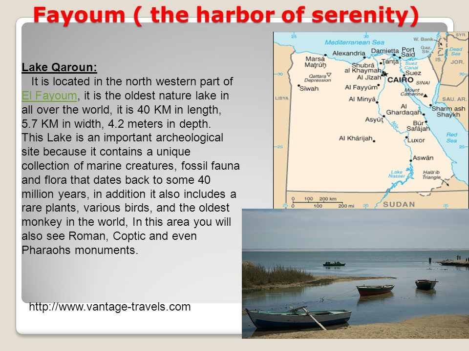 Fayoum ( the harbor of serenity) Lake Qaroun: It is located in the north western part of El Fayoum, it is the oldest nature lake in all over the world, it is 40 KM in length, 5.7 KM in width, 4.2 meters in depth.