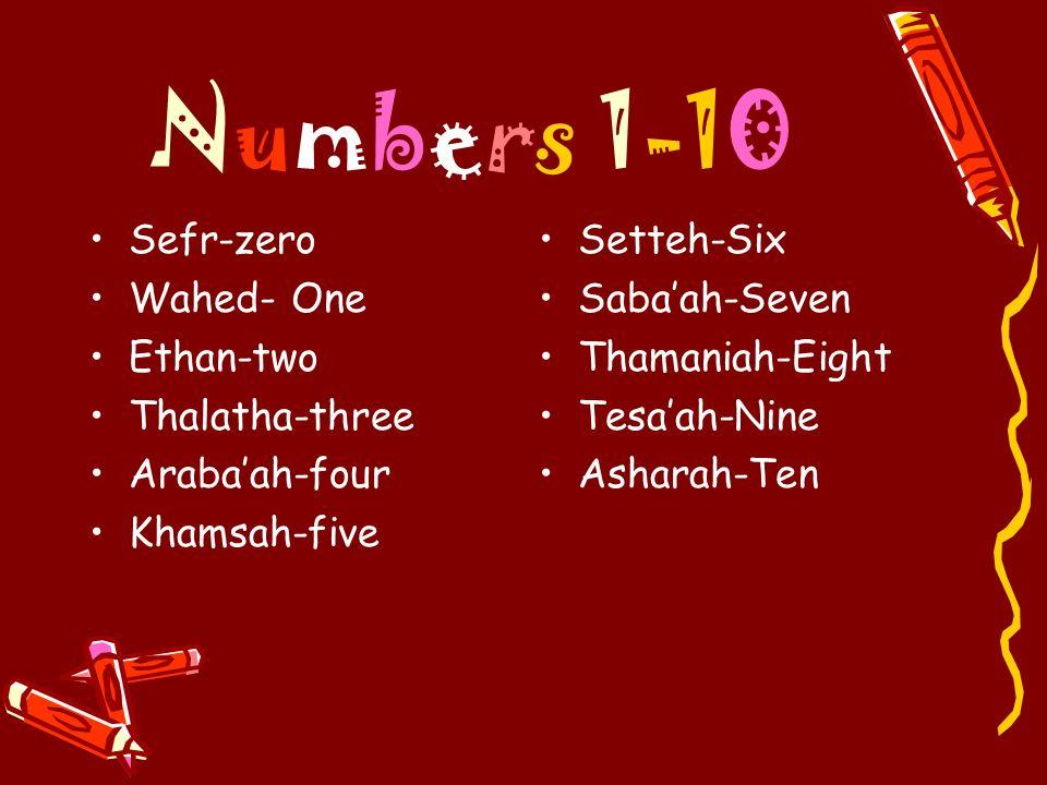 Numbers 1-10 Sefr-zero Wahed- One Ethan-two Thalatha-three Arabaah-four Khamsah-five Setteh-Six Sabaah-Seven Thamaniah-Eight Tesaah-Nine Asharah-Ten